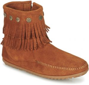Polokozačky Minnetonka  DOUBLE FRINGE SIDE ZIP BOOT