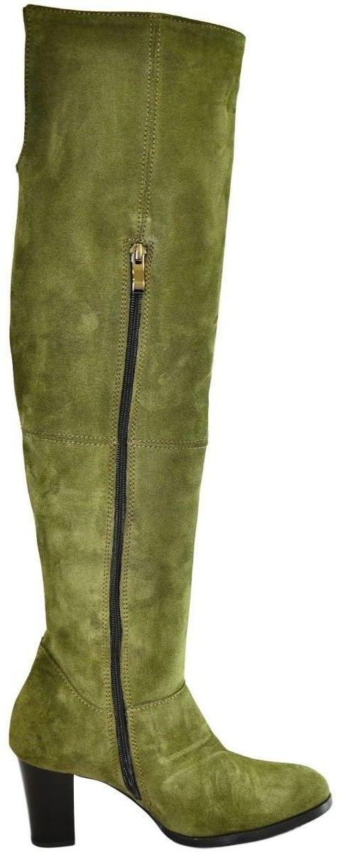 8e93189b5609 Vysoké čižmy Alex Dámske olivovo-zelené kožené čižmy KYOKO značky ...