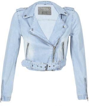 40845de6a3d5 Modrá rifľová bunda s potrhaným efektom a výšivkou ONLY Caroline ...