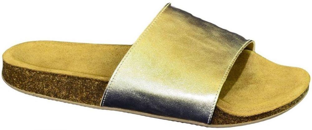 dc6b59b6712d8 Šľapky John-C Dámske zlaté kožené šľapky ALBINIA značky John-C ...