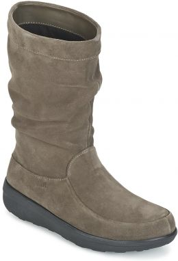 Polokozačky FitFlop  LOAF SLOUCHY KNEE BOOT SUEDE