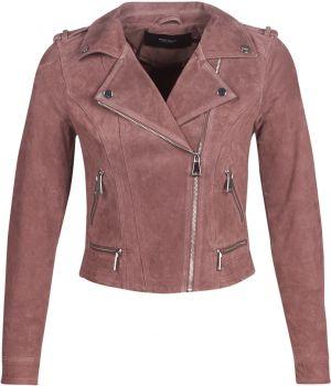 Ružová semišová kožená bunda VERO MODA Best Royce značky Vero Moda ... 0f43f4baaac