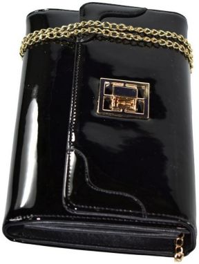 58200a9f04 Spoločenské kabelky John-C Dámska čierna lakovaná kabelka ODIANA