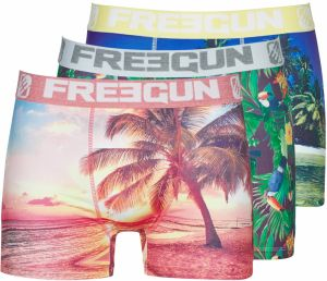 Boxerky Freegun  LOT DE 3 BOXERS HOMME FREEGUN SABLE FIN MULTICOLORE