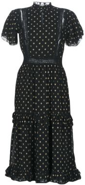 Dlhé šaty Maison Scotch  PARTY DRESS WITH RUFFLES AND LACE PANELS