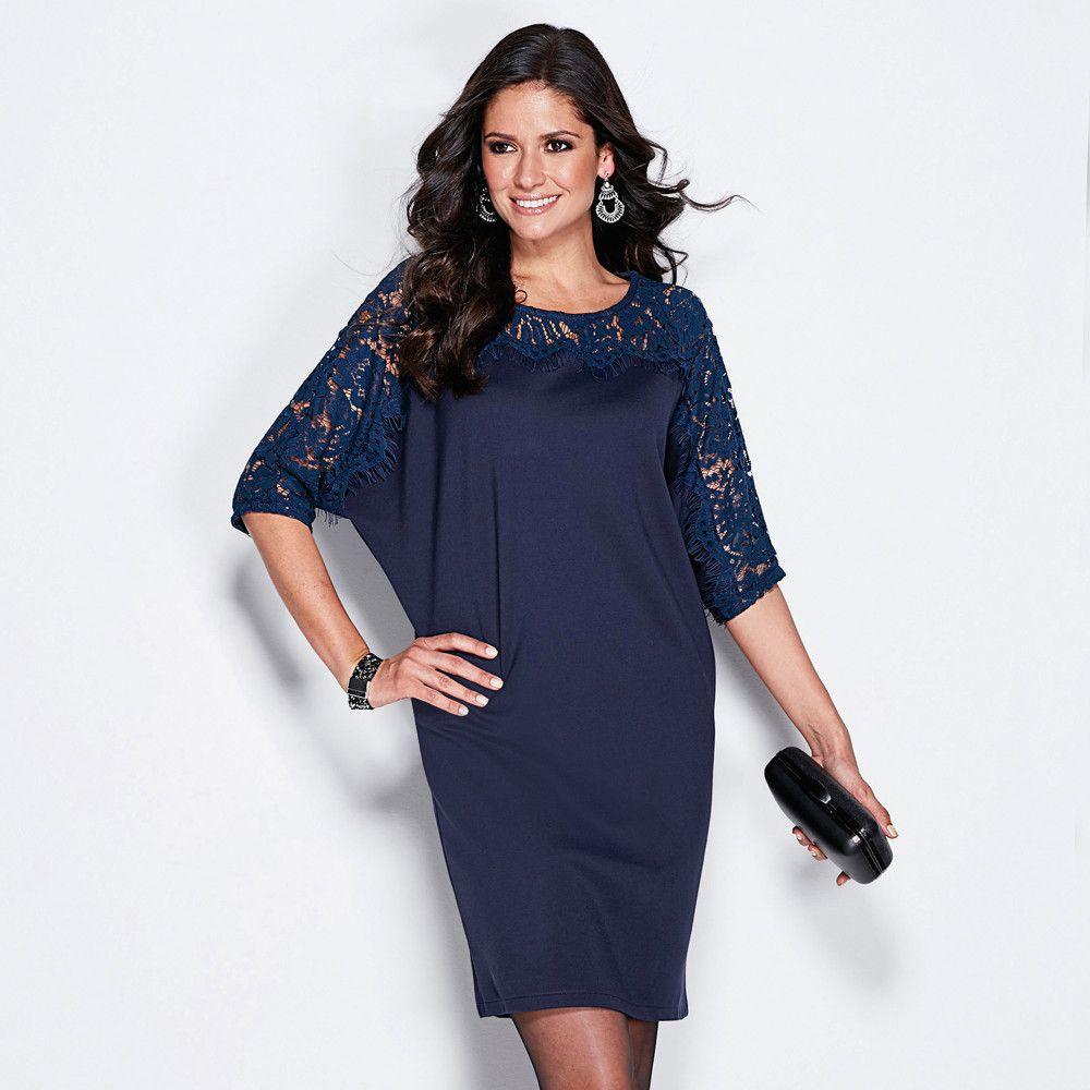 d5c054d78775 VENCA Krátke šaty s čipkou námornícka modrá M značky VENCA - Lovely.sk