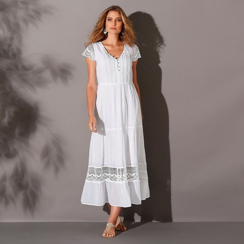 Blancheporte Dlhé macramé šaty s volánmi biela 38 značky Blancheporte -  Lovely.sk 23fbf7841ca