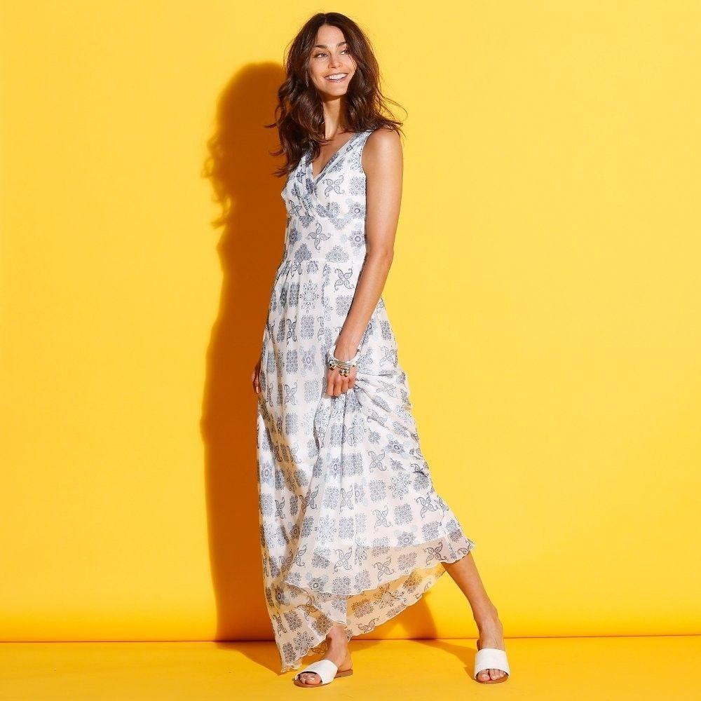 Blancheporte Dlhé šaty s prekrížením biela modrá 46 značky Blancheporte -  Lovely.sk 447d7ce8969