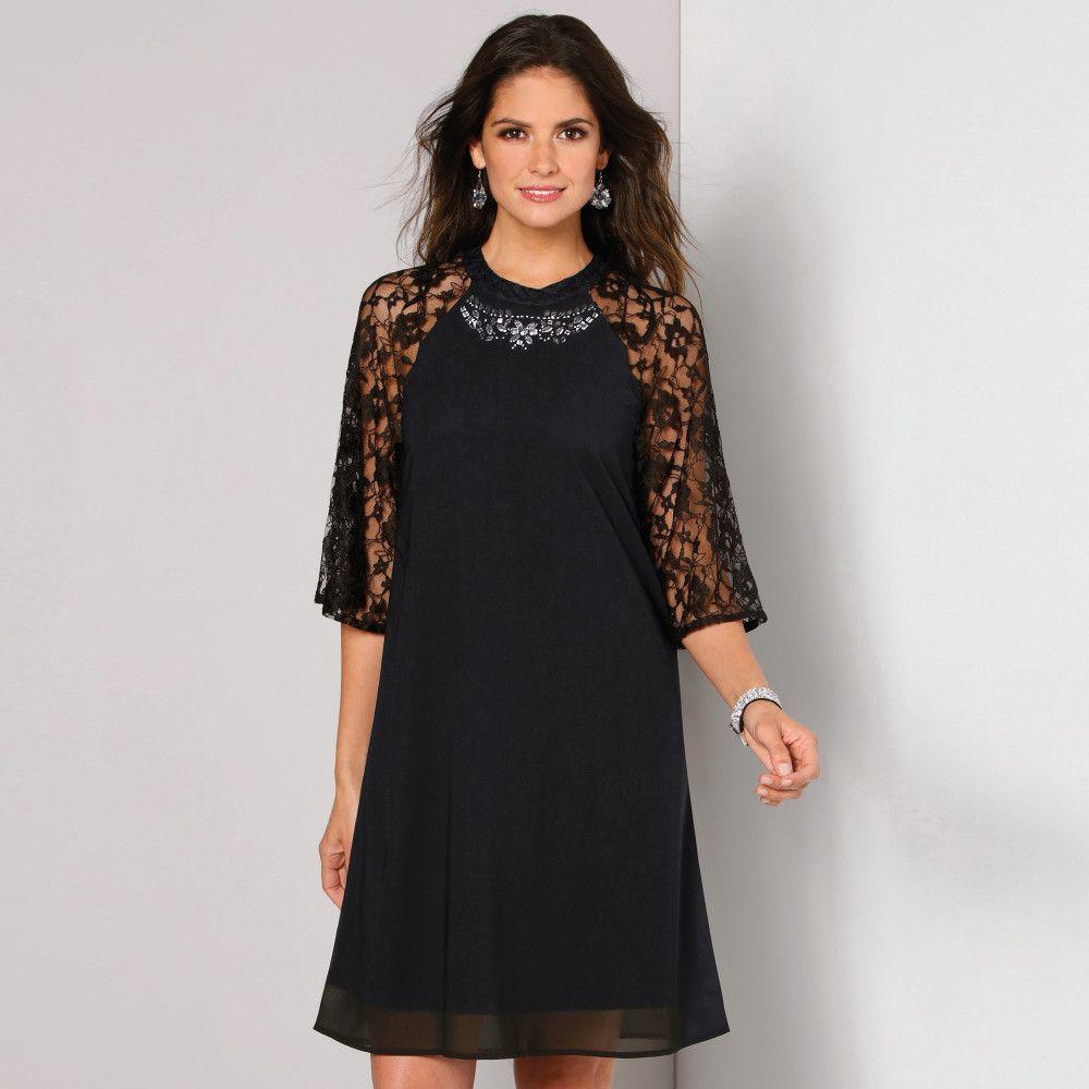 214f1a19e61e VENCA Šaty s čipkou a kamienkami čierna M značky VENCA - Lovely.sk