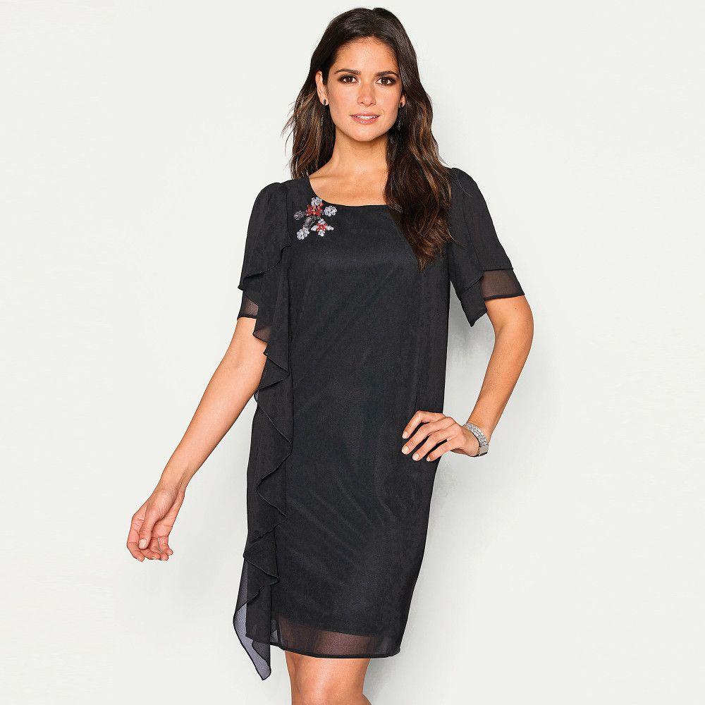 VENCA Šaty s kamienkami a volánom čierna M značky VENCA - Lovely.sk 618a5555c22