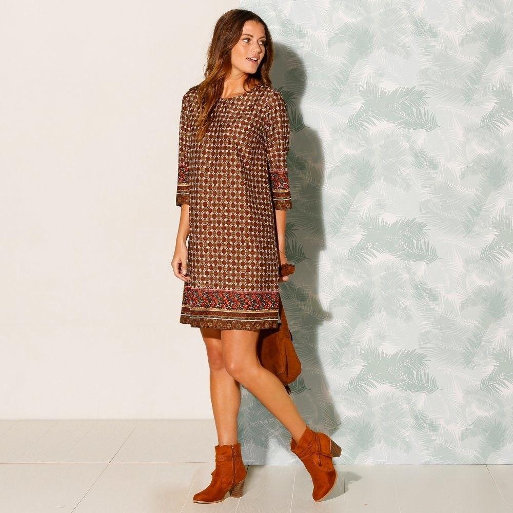 aa2261bbe423 Blancheporte Šaty s potlačou a 3 4 rukávmi tehlová 48 značky Blancheporte -  Lovely.sk