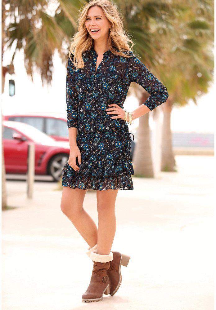 b212d626a022 VENCA Volánové šaty s potlačou kvietkov modrá M značky VENCA - Lovely.sk