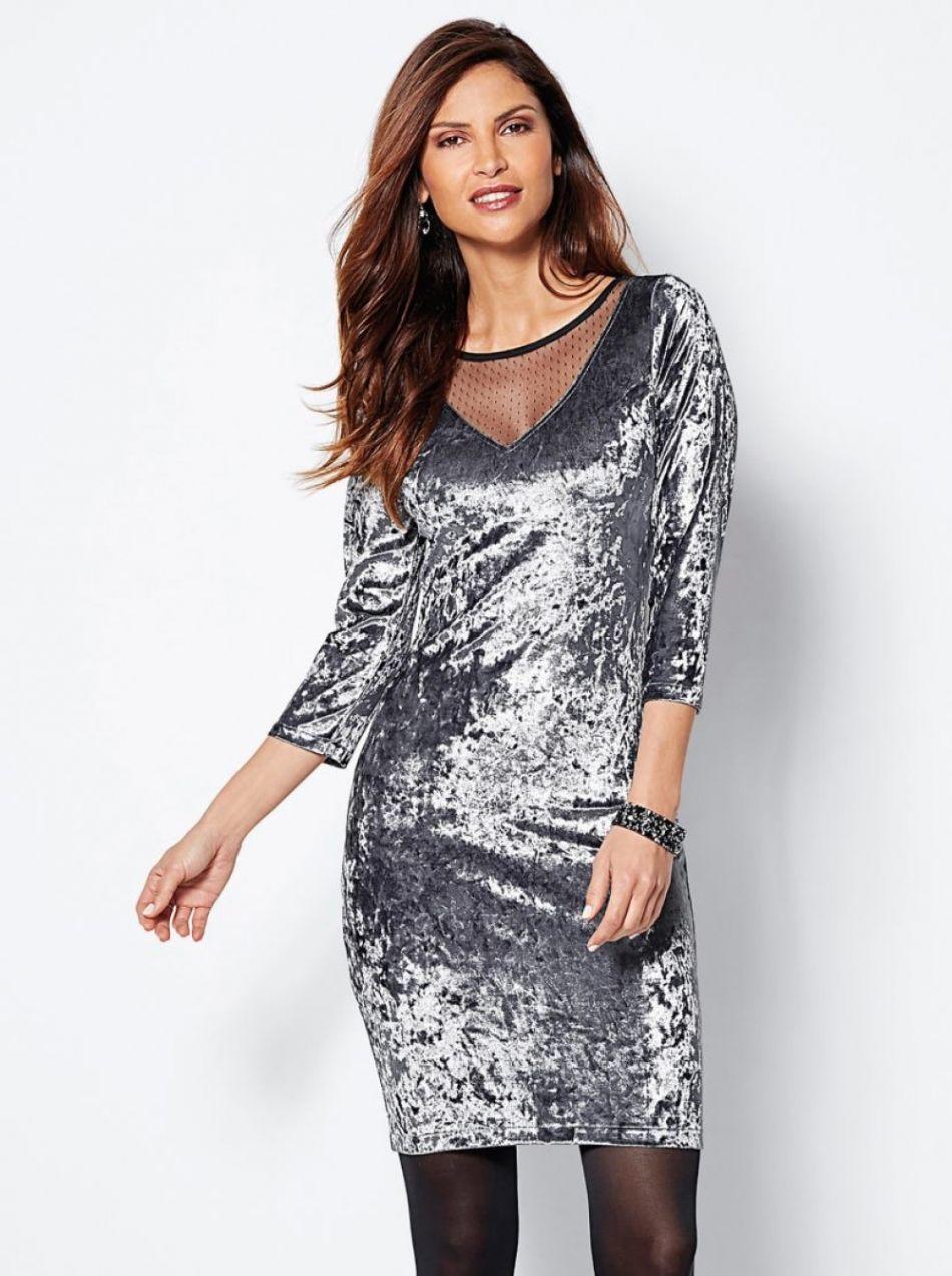 216ed1129942 Zamatové šaty s čipkou a 3 4 rukávom sivá 38 - Lovely.sk