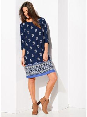 Blancheporte Dlhé šaty s prekrížením biela modrá 42 značky ... e8e96d70880