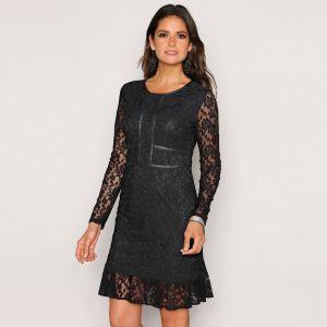 f234d5407114 VENCA Čipkované večerné šaty čierna bežová L značky VENCA - Lovely.sk