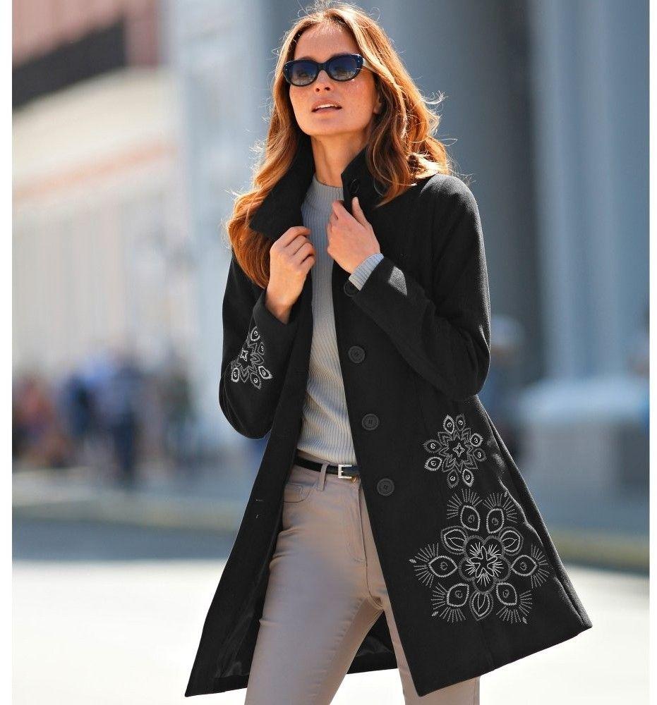 Blancheporte Dámsky kabát s výšivkou e6a9a0f6856