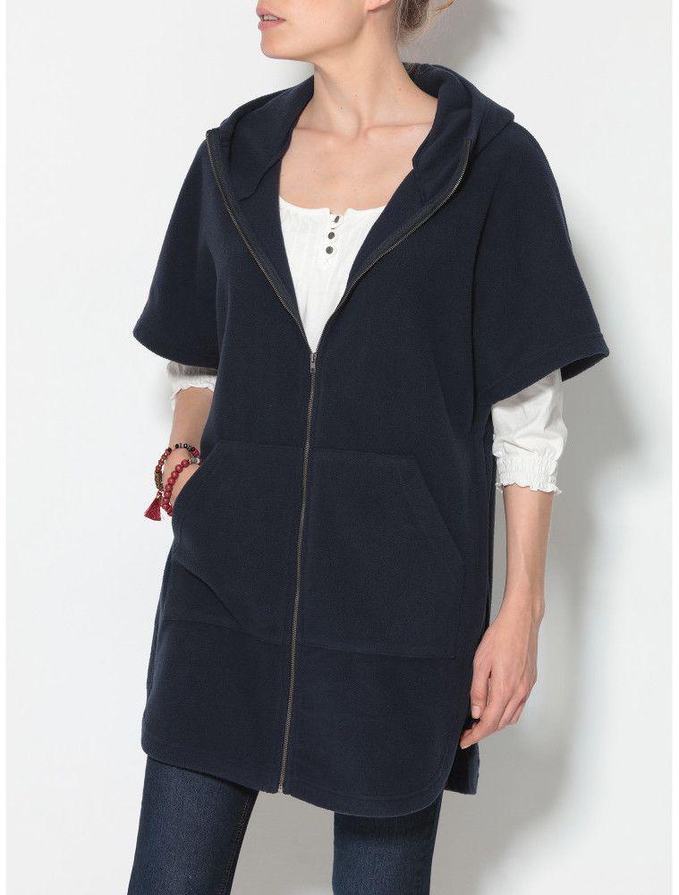 f115f5f58b0a VENCA Fleecový kabát s kapucňou modrá S značky VENCA - Lovely.sk
