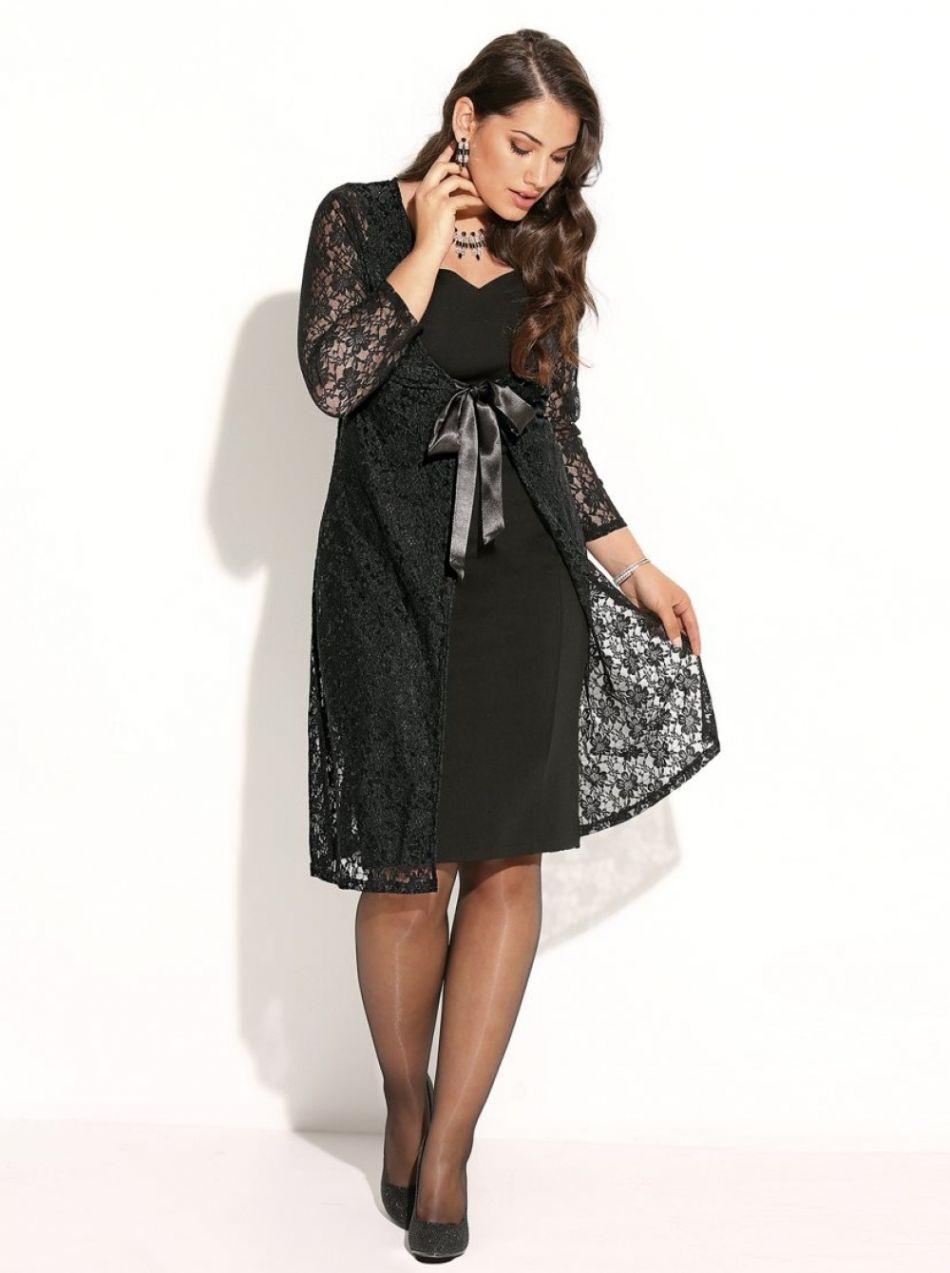 fd4d70887bae VENCA Súprava večerné šaty a krajkový kabátik čierna 42 značky VENCA -  Lovely.sk