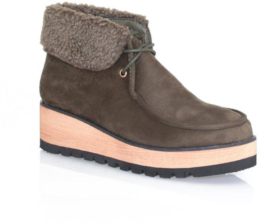 3461fb82ee263 VENCA Členkové topánky na platforme zelená 38 značky VENCA - Lovely.sk