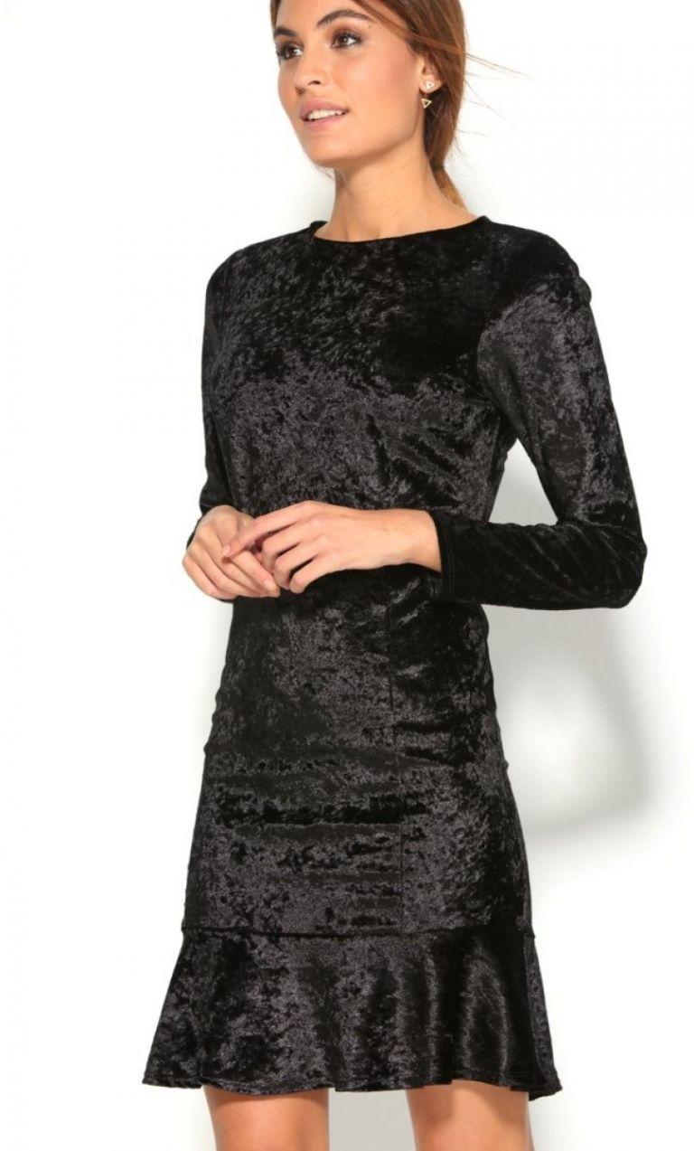 5e365ddffc55 VENCA Volánové zamatové šaty s dlhými rukávmi čierna 36 značky VENCA -  Lovely.sk