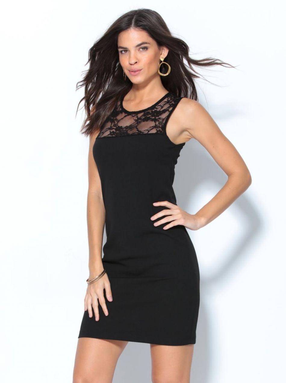 9f09a6d7f5 VENCA Večerné šaty s čipkovaným výstrihom čierna 38 značky VENCA - Lovely.sk