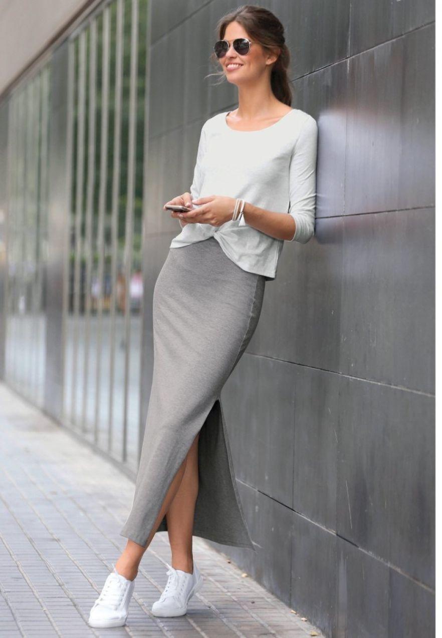 20c7174d0aed VENCA Dlhá sukňa s rozparkami sivá S značky VENCA - Lovely.sk