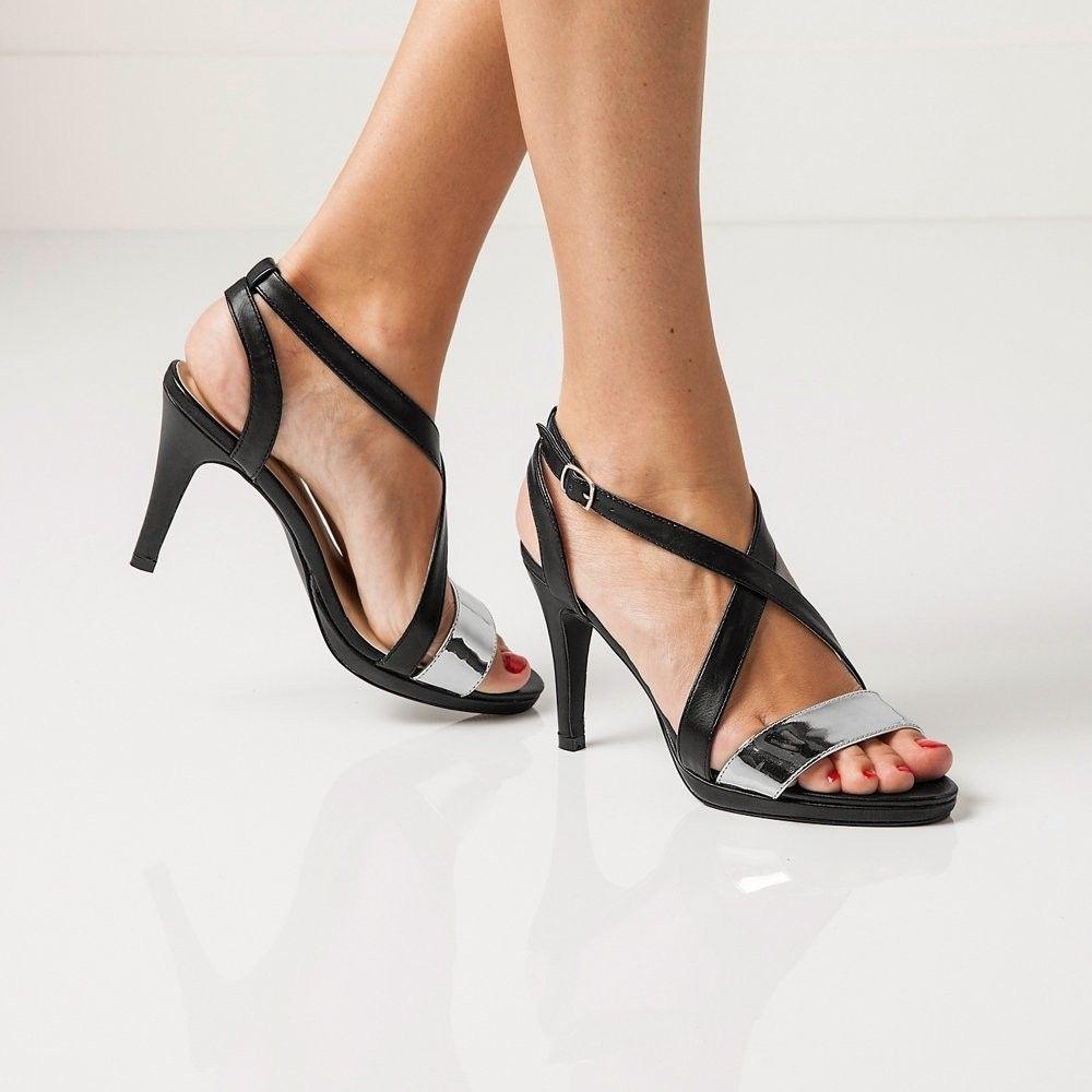 9432f4f8d383 Blancheporte Remienkové sandále na podpätku čierna metalická 36 značky  Blancheporte - Lovely.sk