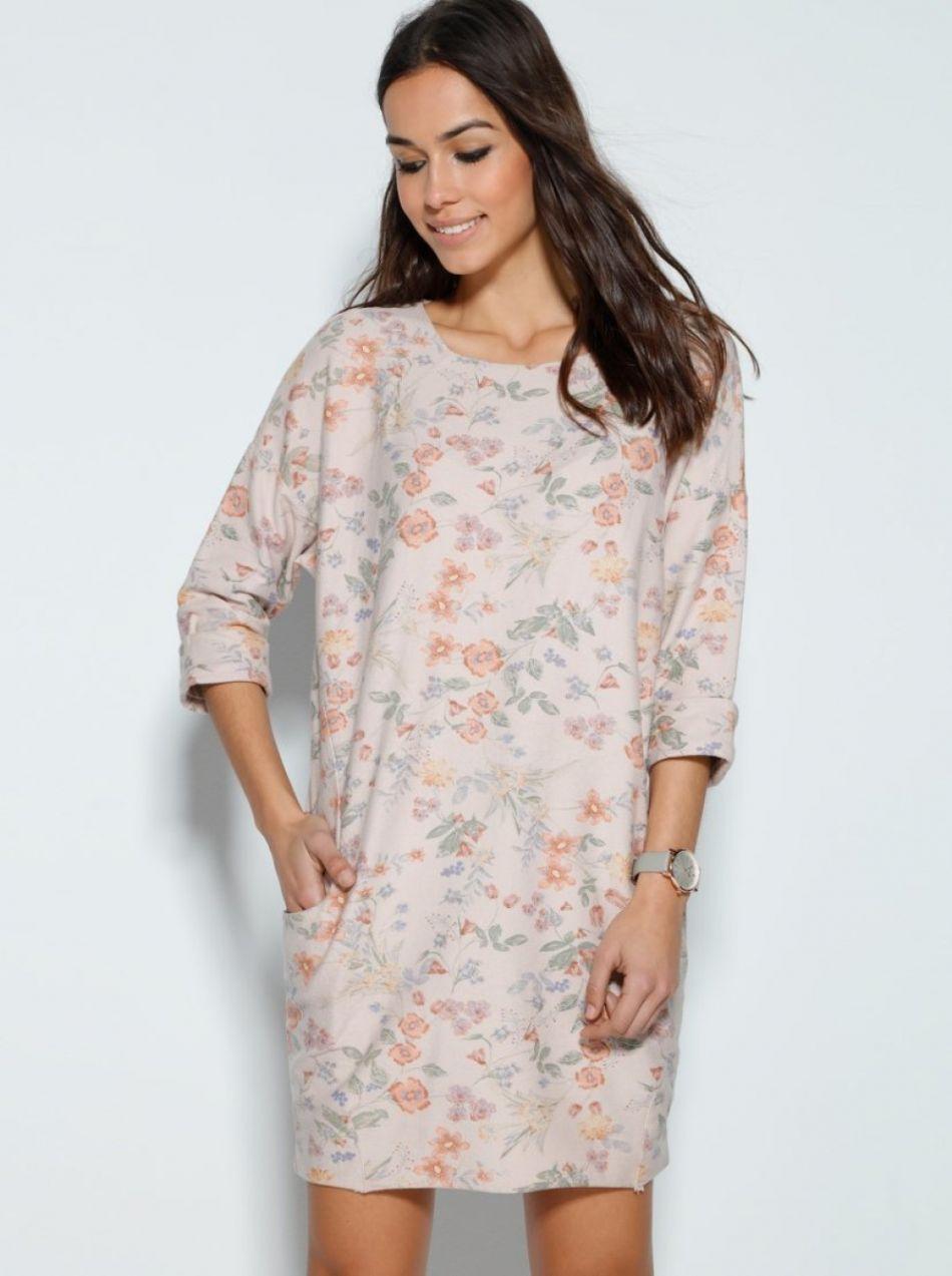 3d82f12c6491 VENCA Ležérne šaty s potlačou kvetín a vreckami ružová potlač UNI značky  VENCA - Lovely.sk