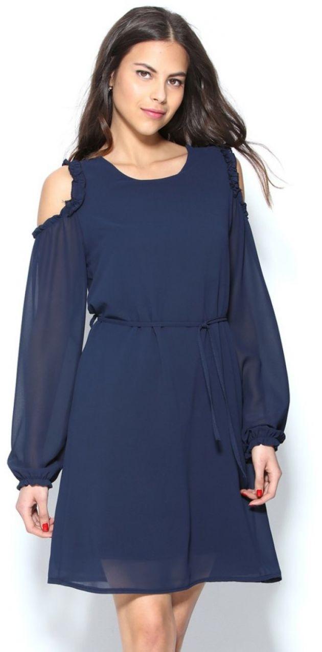 VENCA Krátke šaty s dlhými rukávmi a odhalenými ramenami námornícka modrá UNI  značky VENCA - Lovely.sk 9ea4ed62f4a