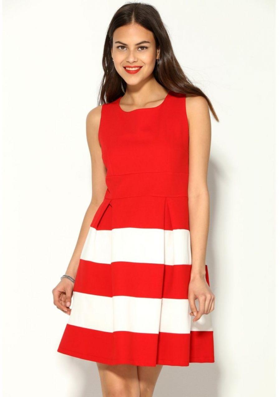 VENCA Krátke dvojfarebné šaty s