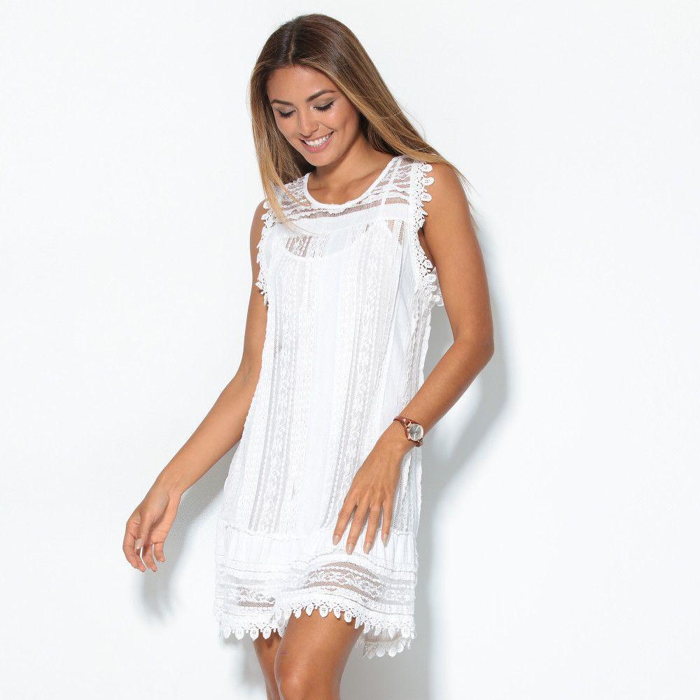 VENCA Čipkované šaty bez rukávov biela UNI značky VENCA - Lovely.sk ff4ef74454b