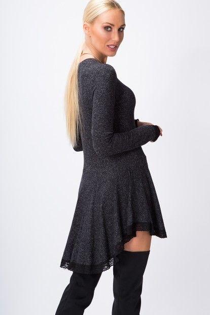 08eeb3d16fc Asymetrické šaty s dlhým rukávom a čipkou na spodnom okraji