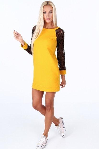 Žlté športové šaty s rukávmi zo sieťkoviny značky Fasardi - Lovely.sk 5c2fe8fa9e6