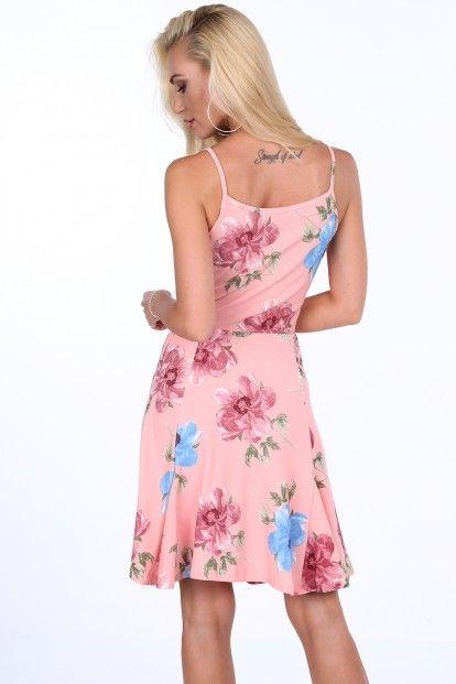 Ružové dámske kvetinové šaty s volánmi na výstrihu značky Fasardi -  Lovely.sk 47dfd1362b0