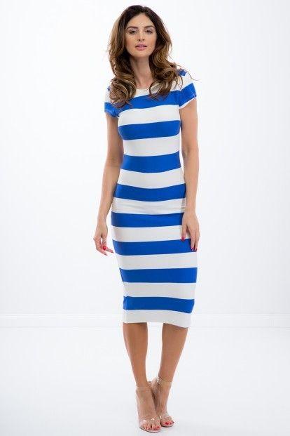 c7d8d082d048 Letné pásikavé modré midi šaty s krátkym rukávom značky Fasardi - Lovely.sk