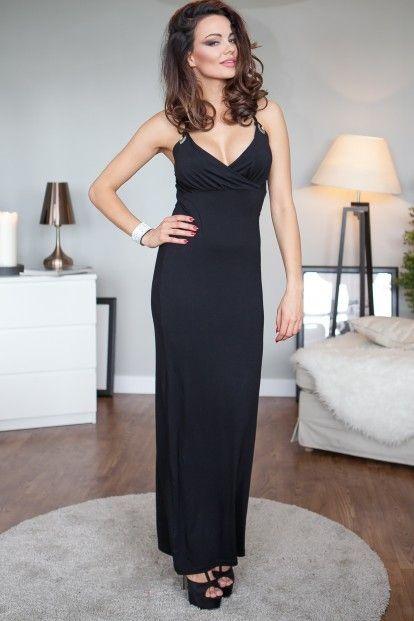 24e7e6308ab1 Čierne šaty na ramienka s véčkovým výstrihom značky Fasardi - Lovely.sk