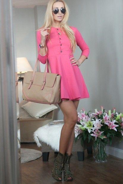 3f0dc1823f Ružové šaty s gombíkmi a ¾ rukávmi značky Fasardi - Lovely.sk