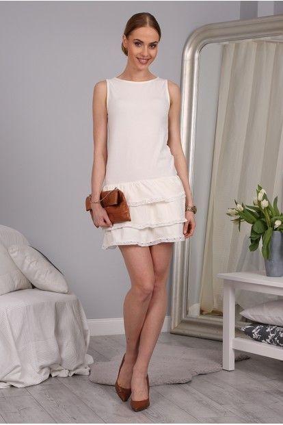 Letné smotanové šaty s riasenou sukňou značky Fasardi - Lovely.sk d250a17931