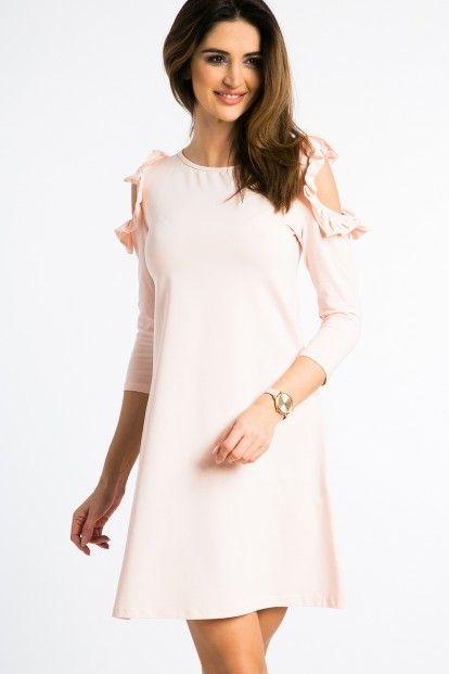 Lososové šaty s výrezmi na pleciach a volánmi značky Fasardi - Lovely.sk b22fbd4078c