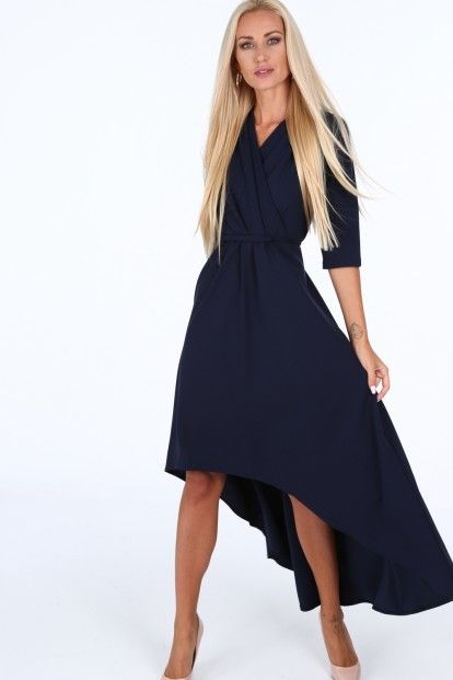 b4583ef8f9bf Tmavomodré elegantné dámske šaty s výstrihom v tvare písmena V značky  Fasardi - Lovely.sk