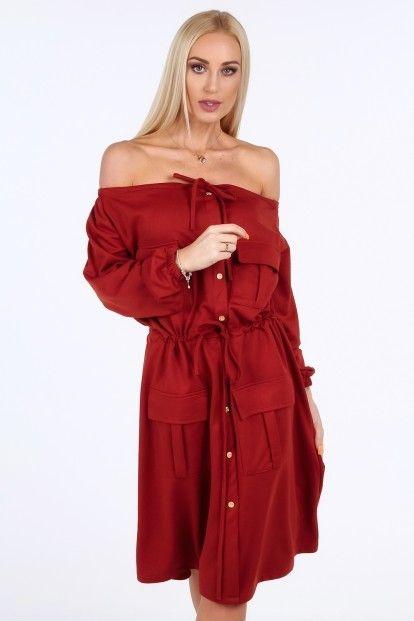262fffebed2b Bordové šaty s holými ramenami značky Fasardi - Lovely.sk