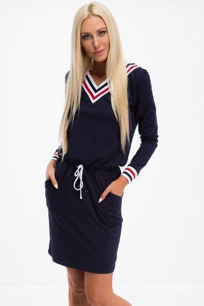 5dfdc5593fd5 Športové šaty s dlhým rukávom a výstrihom tvaru V