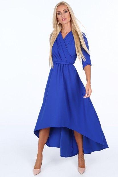 256420683670 Modré elegantné dámske šaty s výstrihom v tvare písmena V značky Fasardi -  Lovely.sk