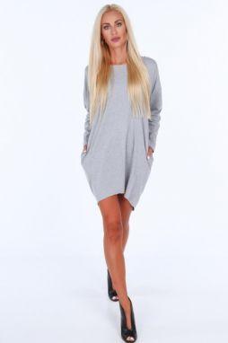 3204cd96f389 Svetlosivé dámske šaty s dlhými rukávmi