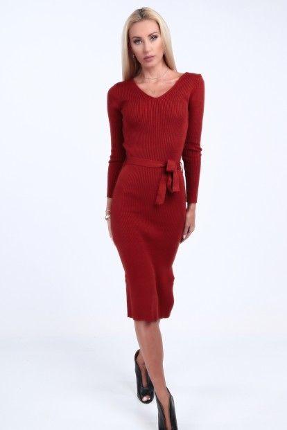 fe2ed55aae20 Svetrové šaty s výstrihom tvaru V