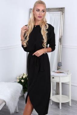 f53dc76279b8 Čierne dámske šaty s látkovým opaskom značky Fasardi - Lovely.sk