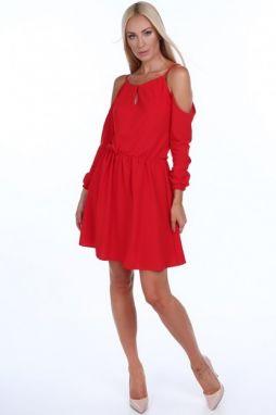 Červené dámske šaty s odhalenými ramenami a18056b3962