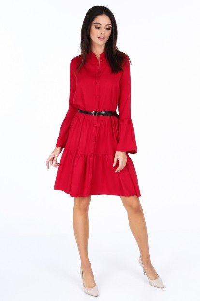 Červené elegantné šaty s volánmi na rukávoch značky Fasardi - Lovely.sk 75b2b81dafb