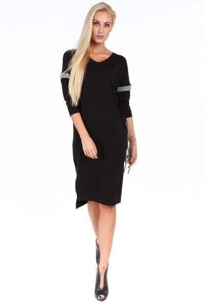 7cd731586fdc Čierne voľné dámske šaty s V výstrihom značky Fasardi - Lovely.sk