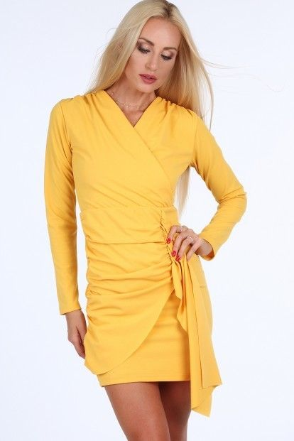 5c8332149052 Žlté krátke letné dámske šaty s dlhými rukávmi značky Fasardi - Lovely.sk